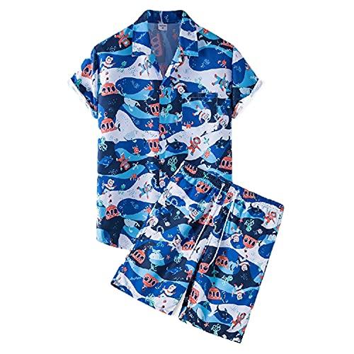 Hawaii Camisa Hombre Verano Moda Estampado Moderna Hombre Camiseta Cuello V Hombre Manga Corta Set Sueltas Causales Vacaciones Secado Rápido Hombre Playa Shirt E-TZ55 XL