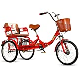 FGVDJ 20 Inch Foldable Tricycle with Back Seat Adjustable Trike with Strong Shopping Basket Three-Wheeled Cruise Bike Bicycles for Adult Elderly People