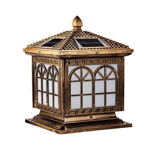 Faros solares de columna de estilo europeo, a prueba de agua y a prueba de humedad, jardín de luz de poste de puerta del hogar, luz de pared de jardín de villa, luz de porche, césped, lámpara de pie