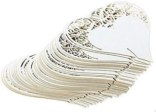 بطاقات بتثبيت على كؤوس الشراب بتصميم شكل قلب بنمط مورد بقص بالليزر، لزينة طاولة حفلات الزفاف - طقم من 50 قطعة