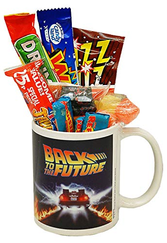 Back to the Future Mug filled with 80s Sweets