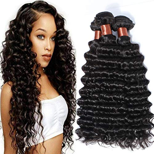 Angie Queen Hair Deep Wave 3 Bundles Brazilian Virgin Hair Deep Wave Human Hair Extensions Unprocessed Human Hair Weaves Natural Black Color Can Be Dyed and Bleached 10 10 12Inch