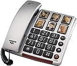 Téléphone pour personnes âgées Gros boutons Amplificateur audio 40 Db 6 Boutons photo programmables Prothèses auditives compatibles SLR Volume fort Visual LED Appel Sonnerie forte