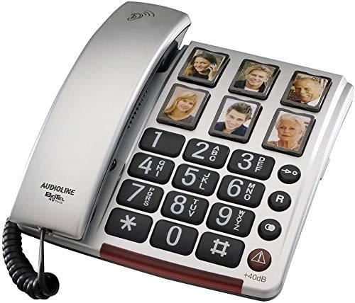 Teléfono para ancianos Amplificador de audio de teclas grandes 40 Db 6 Teclas fotográficas programables Audífonos compatibles Volumen alto Visual LED Timbre alto Volúmenes ajustables