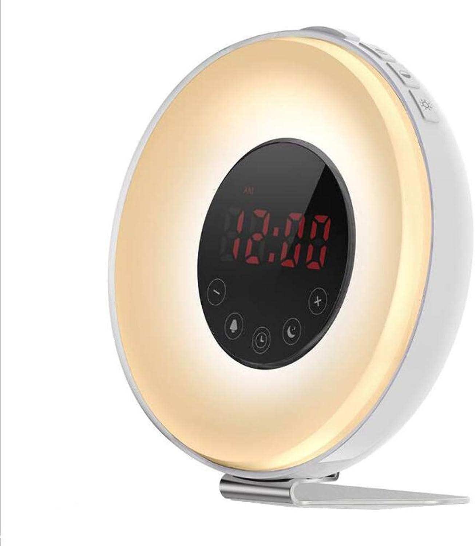 Lichtwecker Wake Up Led Licht Mit 5 Natürliche Wecktne Farbe Ndern Wecker Sonnenaufgang Simulation 3 Helligkeit Touchfunktion Usb Für Schlafzimmer,Weiß