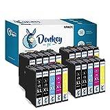 DONKEY PC - 18XL Cartuchos de Tinta para Epson 18 XL Compatible con Epson Expression Home XP-215 XP-225 XP-302 XP-305 XP-312 XP-315 XP-322 XP-405 XP-412 XP-422 XP-425 (8 NG., 4 CY., 4 MG., 4 A.)