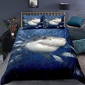 3D Shark Bedding Set Twin Ocean Sea Themed Pattern Printed on Blue Comforter Cover,2 Piece Hawaiian Beach Theme Duvet Cover Underwater Children Bedspread Cover for Kid Boy Girls Teen