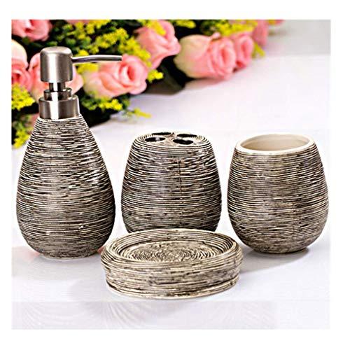 Dispensador de loción Vintage de baño de cerámica de 4 piezas Accesorios...
