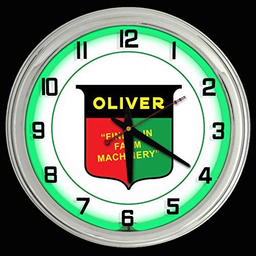 "16"" Oliver Tractor Nostalgic Sign Green Neon Wall Clock Garage"