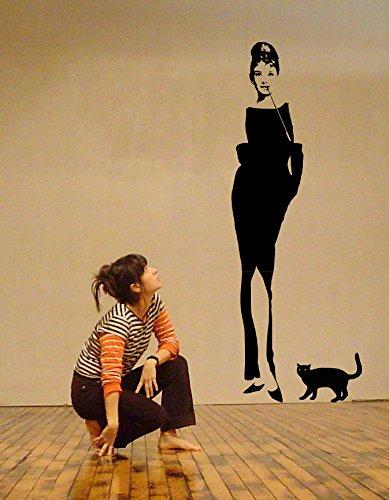 Audrey Hepburn Breakfast at Tiffany 's Art Wand Aufkleber, schwarz, 61cmx170cm