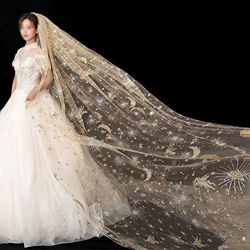 MYW Sterren van de Maan Veil Spray Gold Bridal accessoires Bruiloft hoofdtooi Vrouw (Champagne) (Color : Champagne)