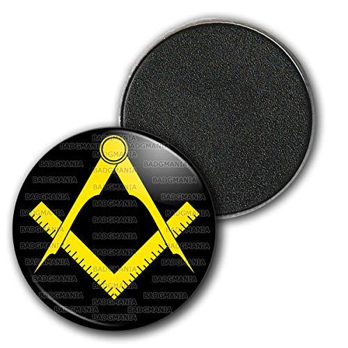 Badgmania Magnet Aimant Frigo 3.8cm Compas Equerre Francs-Maçons Symbole Maçonnique Jaune Fond Noir