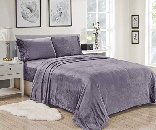 Plazatex Noble House Lavana Soft Brushed Microplush Bed Sheet Set Twin Size - Lavender