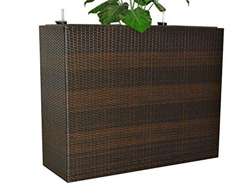 XXXL Pflanztrog Blumentrog Trennelement Polyrattan als Raumteiler LxBxH 82x30x80cm coffee braun.