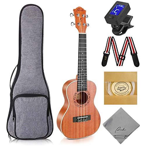 Concert Ukulele Ranch 23 inch Professional Wooden ukelele Instrument Kit With Free Online 12 Lessons Small Hawaiian Guitar ukalalee Pack Bundle Gig bag & Digital Tuner & Strap & 4 Aquila Strings Set