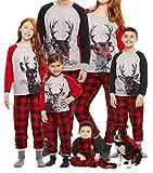 Weihnachten Schlafanzug Familien Outfits Mutter Vater Kind Mädchen Junge Nachtwäsche Hirsch Druck Nachthemd Plaid Pyjama Pants Hose Schlafanzüge Homewear (L, Damen)
