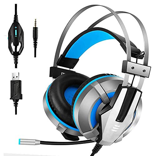 Cdy Gaming Headset, Komfortabler USB-Kabel Noise-Cancelling Surround Stereo Gaming Headset Professionelle PC-Headset Mit Mikrofon Und LED,Blau