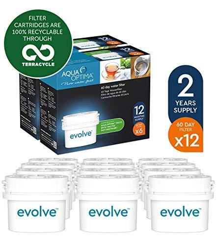 Aqua Optima EVD912 Evolve Patroon, 12 x 60-Dagen, voor 2 Jaar, voor Waterfilters - Brita Maxtra (Niet Maxtra+), 12-Stuks