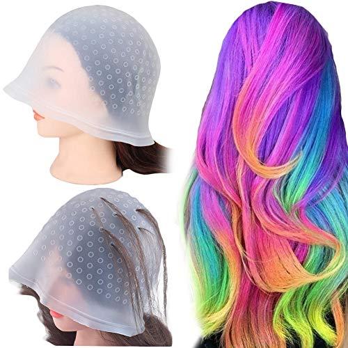Highlight Caps Mit Coloring Hair Hook, Silikon Haar Hervorhebung Kappe, Silikon Markieren Kappe, Wiederverwendbare, Haar Farbstoff Kappe Mit Haken für Frauen Mädchen Färben von Haaren (1 Set)