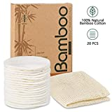 20 Packs Organic Reusable Makeup Remover Pads, Washable Eco-friendly Natural Bamboo Cotton Rounds...