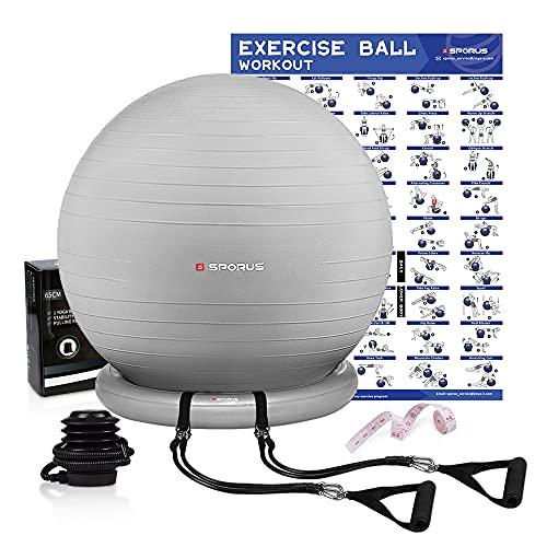 Sporus Gymnastikball mit Ballschale, Anti-Burst Fitnessball 65 cm Stuhl System und Widerstandsbändern, für Büro, Balance, Yoga & Fitness inkl. Schnellpumpe und Übungen-Poster Silber