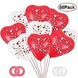 Bluelves Motiv Just Married Luftballons, 50 Stück Herzluftballons Rot Weiß, Herz Luftballons Hochzeit, Latex Herz Ballon Ø 30 cm, Herzballons Helium Luftballon