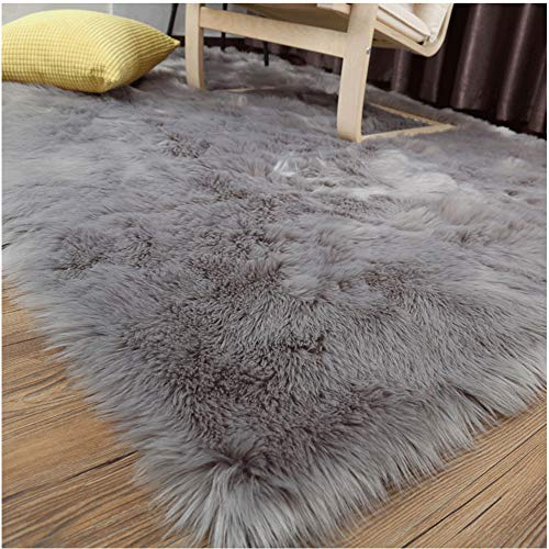 LOCHAS Ultra Soft Fluffy Rugs Faux Fur Sheepskin Area Rug for Bedroom Bedside Living Room Carpet Nursery Washable Floor Mat, 3x5 Feet Gray