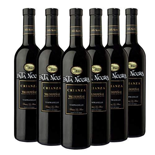 Pata Negra Crianza Vino Tinto D.O Valdepeñas - Pack de 6 Botellas x 750 ml