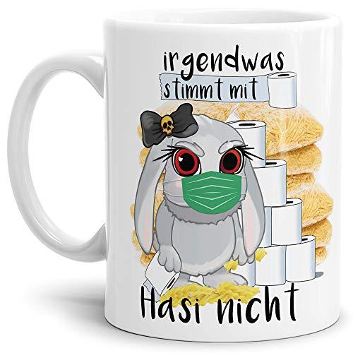 Tassendruck Anti-Hamster-Tasse mit Spruch Böses Hasi - Hamsterkäufe - Klopapier/Nudeln/Kaffee-Tasse/Corona-Virus 2020 / Geschenk Ostern - Weiß