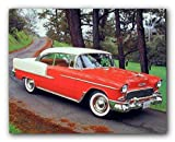 1955 Chevy Bel Air Hard Top Classic Red Vintage Car Wall Decor Art Print Poster (16x20)