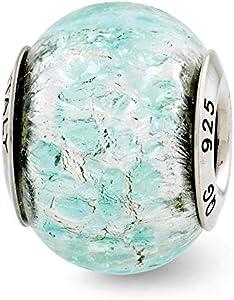 Plata de ley reflexiones púchica del encanto del grano de cristal de Murano italiano - JewelryWeb