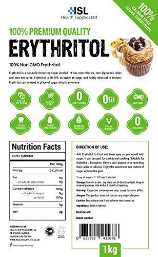 100 % Premium Quality Erythritol 1 Kg (2.2 lb) Zero Calorie Sugar Replacement