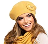Kamea Pesaro - Gorro para mujer Color amarillo miel. Talla única