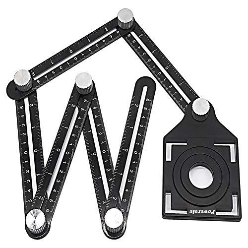 Powerole Angleizer Template Tool, 6 Sides Alulegierung Winkelschablone Multi winkel lineal, Multifunktionslineal Winkelmesswerkzeug, mit Tile Positioning Aperture Lineal