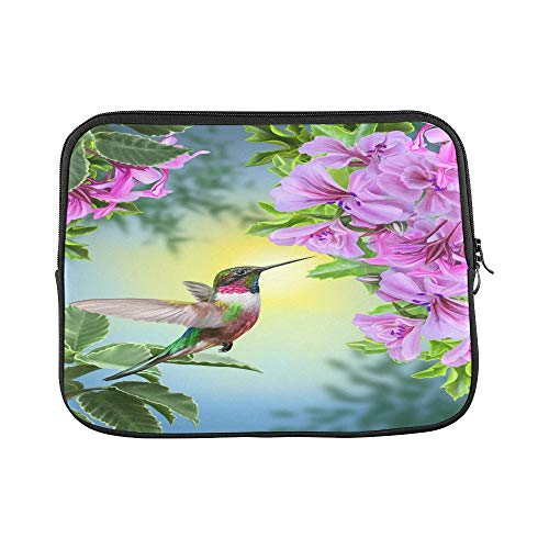 Design Custom Spring Summer Flower Leaves Animal Hummingbird Sleeve Soft Laptop Case Bag Pouch Skin for MacBook Air 11'(2 Sides)