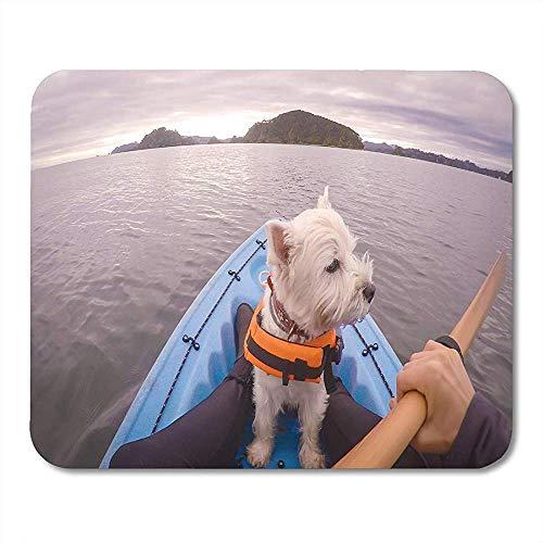 Mouse Pads West Highland witte Terrier Westie hond dragen Life Jacket kajakken in Paihia Bay of Islands Nieuw-Zeeland muismat 25X30cm