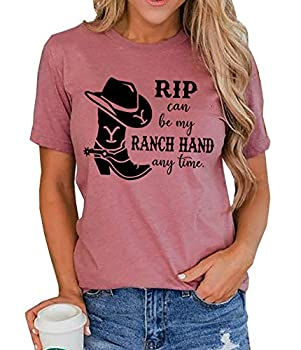 Rip Can Be My Ranch Hand Any Time T-Shirt Womens Casual Country Music Graphic Tees Short Sleeve Tops  Cameo Brown Large