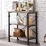 Hombazaar 3-Tier Bookshelf, Rustic Industrial Style Bookcase Furniture, Free Standing Storage Shelves for Living Room Bedroom and Kitchen, Grey Oak