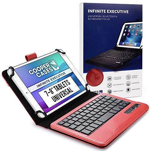 Cooper Infinite Esecutiva Custodia Tastiera per 7-8 pollice Tablet | Universale | 2-in-1 Bluetooth Wireless Keyboard e Libro Foglio Case Cover (Rosa)