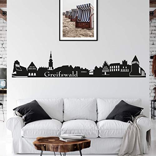 selbstklebendes Wandtattoo Greifswald Skyline Wandsticker selbstklebend Stadt Silhouette Wandposter 120cm