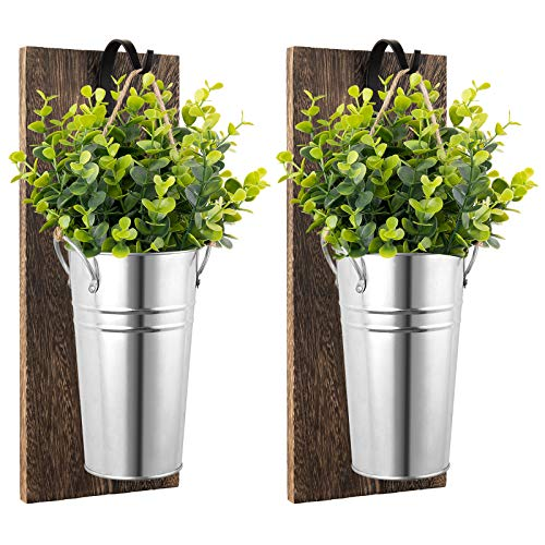 Dahey Galvanized Metal Wall Planter with Artificial Greenery Plants, Farmhouse Hanging Wall Vase Planters for Herb Plants Flowers Holder Wall Pocket Tins Indoor Outdoor Country Rustic Decor,Set of 2