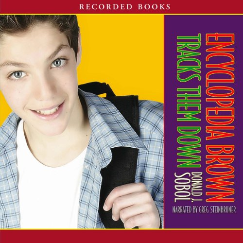 Encyclopedia Brown Tracks Them Down audiobook cover art