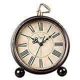 shuxuanltd Reloj De Mesa Silencioso Despertador Retro Reloj Silencioso De Estilo Europeo De Metal Clásico Clásico Sin Tictac con Pilas para Viajes En El Dormitorio