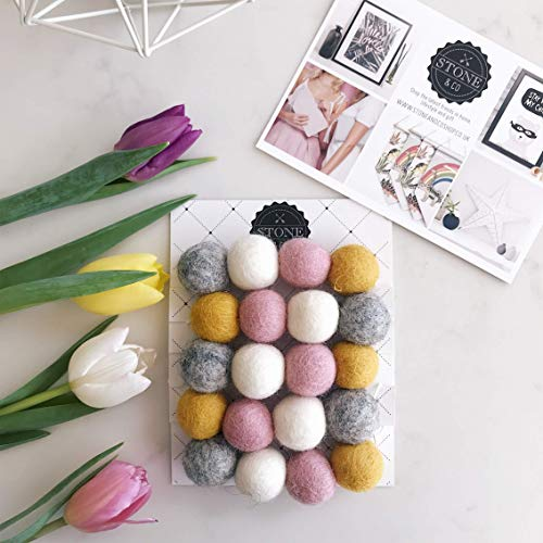 Felt Ball Pom Garland in Mustard, Pink, Grey & White By Stone and Co