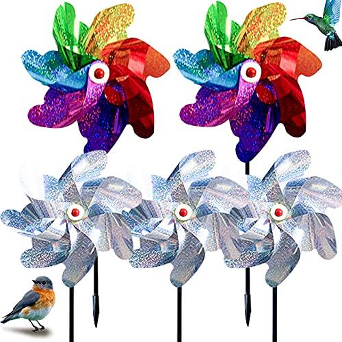 XINCHEN 5Pcs Molinos de Viento Jardin, Molinillos de Viento para Pájaros Molino de Viento Reflectante, Molino de Viento Repelente de Aves para Proteger Jardines Huertos Patios.