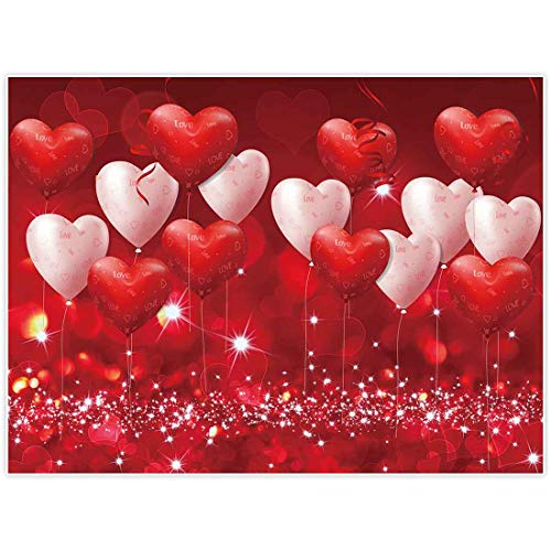Allenjoy Valentijnsdag achtergrond rode harten ballonnen liefde thema partij benodigdheden voor verloving bruiloft bruids douche stof fotografie achtergrond, 8'x6'