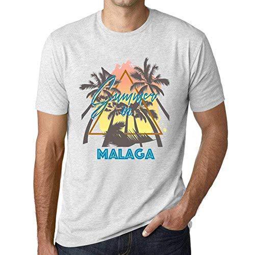 One in the City Hombre Camiseta Vintage T-Shirt Gráfico Summer Triangle Malaga Blanco Moteado