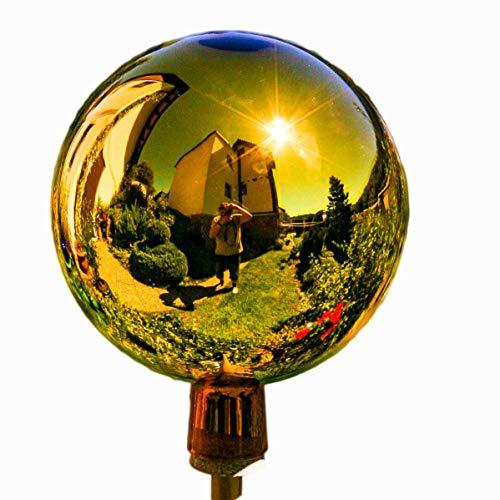 Lauschaer Glaskunst-Gartenkugel Thüringer Rosenkugel 15 cm - Gold