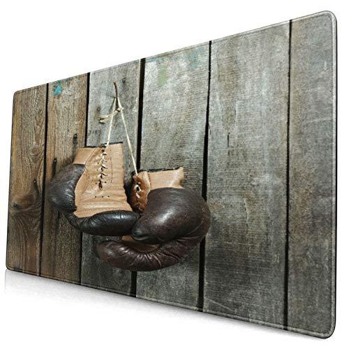 Großes dekoratives Gaming-Mauspad,Braune alte Boxhandschuhe mit einer Spitze üb,lange Computermausmatte mit rutschfester Gummibasis für Büro/Spiele/Zuhause