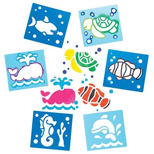 """Baker Ross Schablonen """"Meerestiere"""" zum Malen (6 Stück) – Schablonenset aus abwaschbarem Kunststoff für Kinder"""